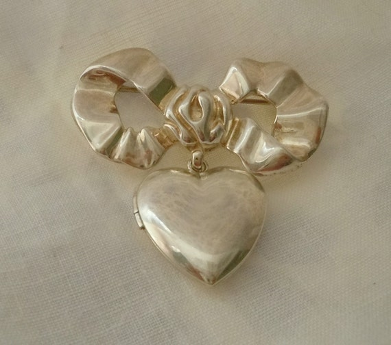1920's STERLING Silver Heart LOCKET and Bow Pin Brooch IC Sterling Bow Pin B.A.B. Sterling Heart Locket Free Shipping