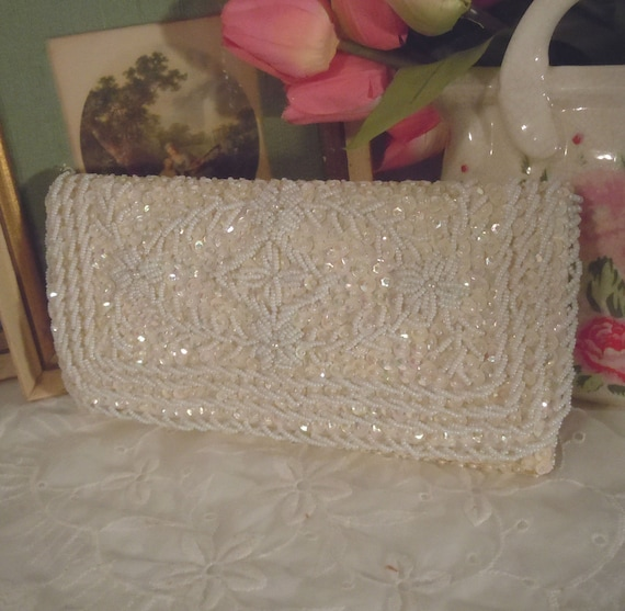 Vintage BRIDAL White Pearl and SEQUENCE Clutch Wedding Day Hand BEADED Clutch Made in Hong Kong