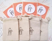 Halloween Handstamped Muslin Gift Bags with Matching Cards
