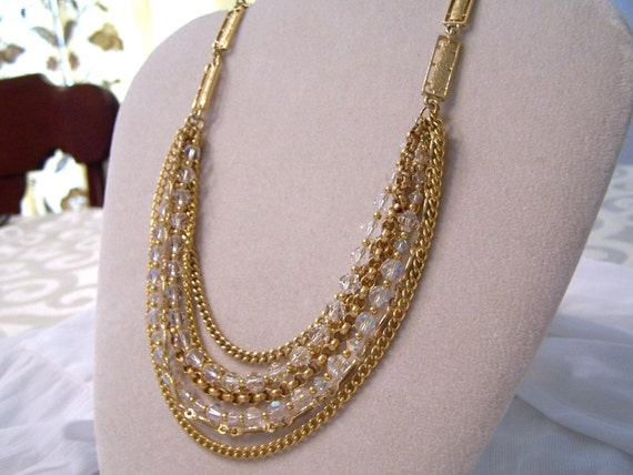 SALE Vintage Layered Gold and Crystal Necklace Recycled Restyled