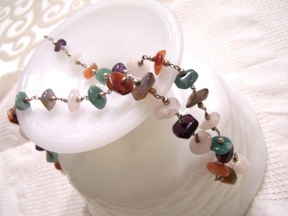 Vintage Gemstone Necklace Long agates quartz silver bead SALE