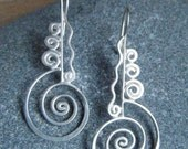Silver Wire Earrings (Swirling Current)