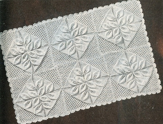 Knitting Pattern For Leaf Design Baby Blanket : Vintage knitting pattern baby pram blanket leaf design PDF