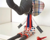 Ludovico, the soft toy elephant - in grey wool and blue & red cotton fabrics