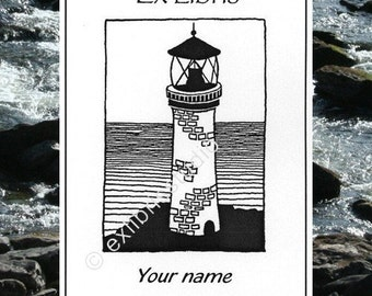 Ex Libris Lighthouse 15 Personalized Booklabels Bookplates