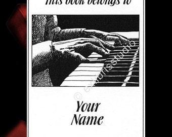 Ex Libris Piano Concert Black 15 Personalized Bookplates Booklabels