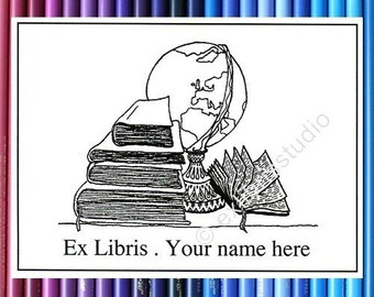 Booklabels Globe III 25 Personalized Ex Libris Bookplates
