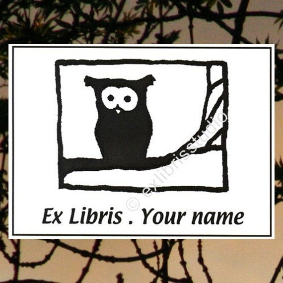Booklabels Owl on the Branch 25 Personalized Ex Libris Bookplates