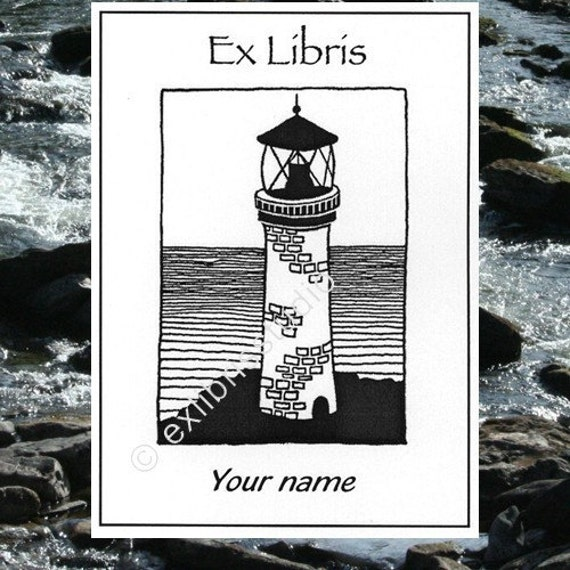 Booklabels Lighthouse 25 Personalized Ex Libris Bookplates