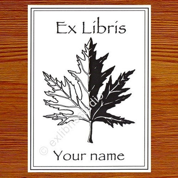 Booklabels Mapleleaf 25 Personalized Ex Libris Bookplates