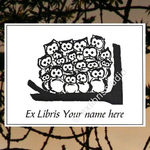 Ex Libris Owlmeeting 25 Personalized Booklabels Bookplates