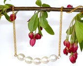 CLEARANCE SALE -  5 Pearl Bar Necklace on Gold Chain
