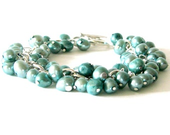 CLEARANCE SALE - Light Blue/Green Pearl Bracelet