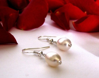 CLEARANCE SALE - white pearl earrings (large)