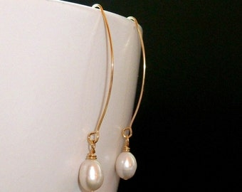 CLEARANCE SALE - Long Gold wire / hook and White fresh water pearl earrings