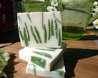 Lawn and Order - freshly cut grass scent soap natural handmade plus beautiful postcard