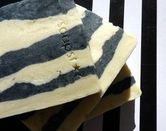 Z bars - zesty lemon tea tree charcoal facial soap natural handmade plus beautiful postcard