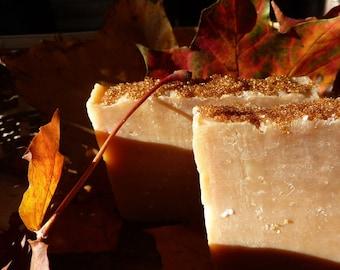 Miss Maple - organic maple syrup / soft golden sugar soap handmade natural plus beautiful postcard
