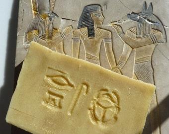 Golden Girl - amber myrrh Egyptian musk handmade soap luxury plus beautiful postcard