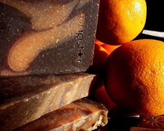 the O.C. - sweet orange dark chocolate organic cocoa soap handmade naturally plus beautiful postcard