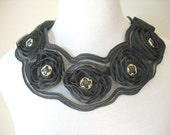 Black Chiffon Rosette Collar Two Way Necklace by MaggieGlynn