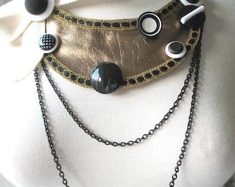PARIS No. 12  Bronze Leather Bib Necklace by MaggieGlynn