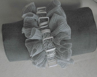 Grey Flannel Cuff with Ruffles by MaggieGlynn