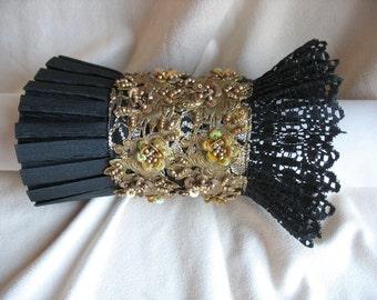 Black Gold Lace Cuff by MaggieGlynn