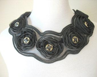Black Chiffon Rosette Collar Two Way Necklace by MaggieGlynn