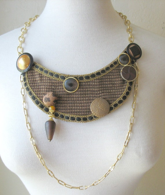 BROWN TWEED Bib Necklace with Vintage Buttons and Chain by MaggieGlynn