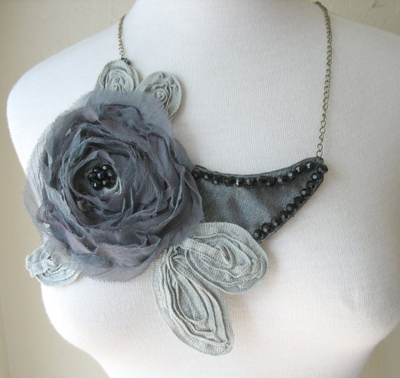 BIB STATEMENT NECKLACE Grey Rose with Beads by MaggieGlynn
