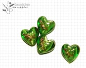 20mm Acid Green Murano Glass Heart Beads, 8 pcs.