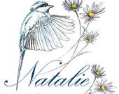 Hummingbird Art & Daisy Flowers with Name Design