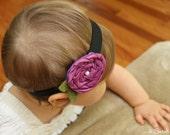 Plumish Purple Satin Swirl Flower Rosette Headband