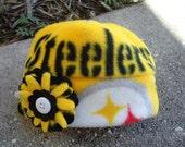 Pittsburgh Steelers Fleece Flower Hat Sizes Newborn baby to Adult Women