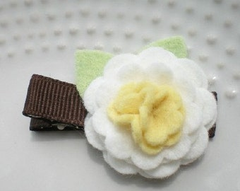 Daisy Felt Flower Hair Clip with Brown Ribbon