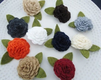 Assorted Felt Flower Blossom Hair Clips YOU PICK 2 COLORS - Perfect for Kids, Teens and Adult Women