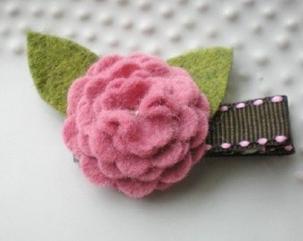 Brown and Rose Pink Felt Flower Blossom Hair Clip