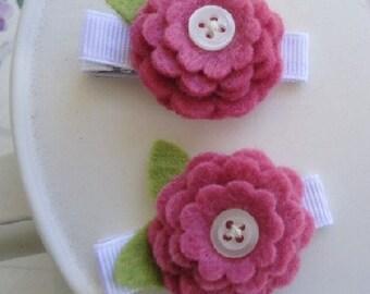 No Slip White and Pink Felt Flower Daisy Hair Clip