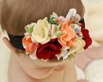 Yellow / Orange Felt and Fabric Flower Headband with Soft Elastic Band