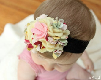Pink / Yellow Felt and Fabric Flower Headband with Soft Elastic Band