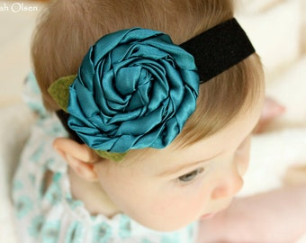 Teal Satin Swirl Flower Headband - Great for Newborn Baby, Girls, Women