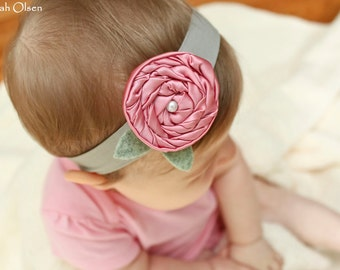 Pink and Grey Satin Swirl Flower Rosette Headband