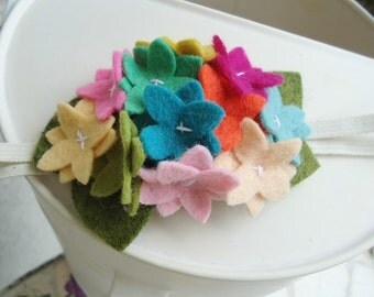 Felt Flower Rainbow Hydrangea Headband
