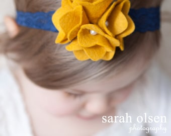 Mustard Yellow Felt Flower with Navy Blue Lace Headband