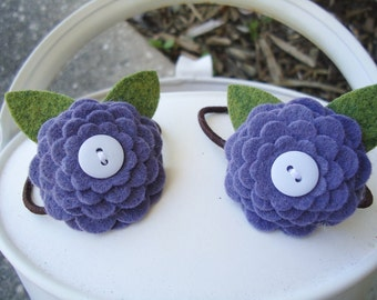 Purple Felt Flower Daisy Hair Pony Tail Bands / Holders - Set of Two