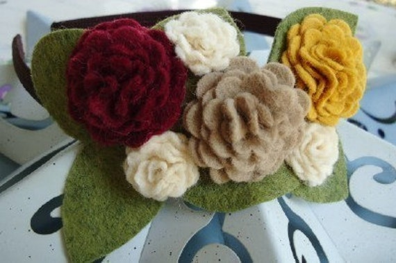 NEW Brown Headband with Felt Fall Flowers Blossoms - Perfect for School, Kids, Teens and Adults