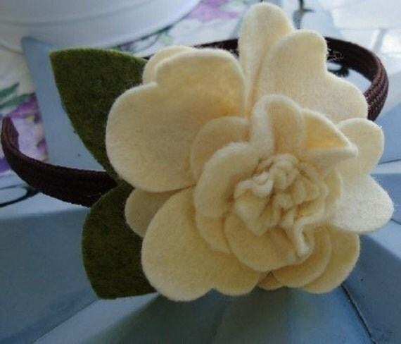 Brown Headband with Cream Felt Flower - Perfect for School, Kids, Teens and Adults