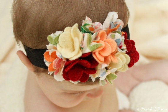 Yellow / Orange Felt and Fabric Flower Headband with Soft Elastic Band