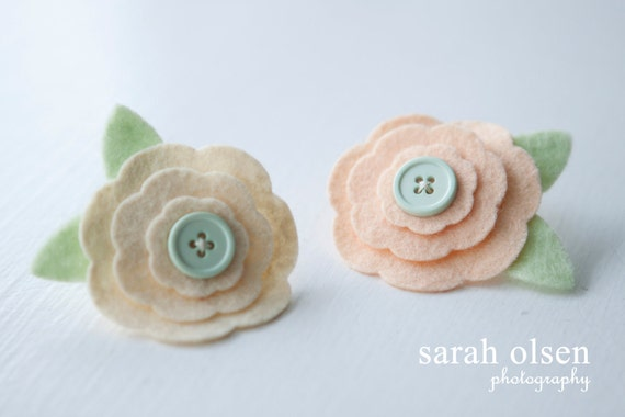 Felt Flower Daisy Layer Hair Clips -Set of 2 - Perfect for Kids, Teens and Adult Women